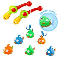 yoptote 20 Sets Bath Toys Fishing Games with Rod and Floating Fish 2 Sets Enjoy Bathing Fun Time Great Gift for Toddlers Kids Boys Girls Over 3 Years Old,Color Vary