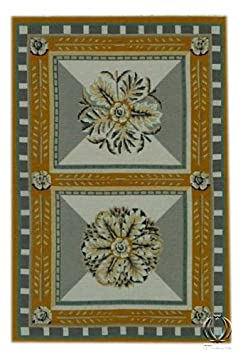 IT-0163-Aubusson mezzopunto classico floreale francia design - 92x61 Cm - Farah1970