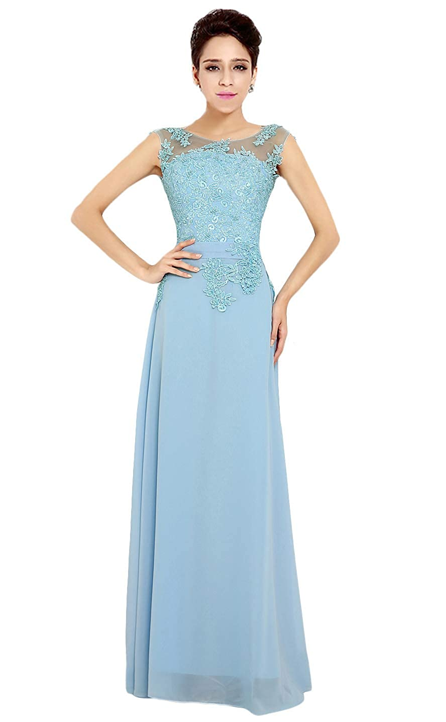 Light bluee Baixia Womens Formal Lace Applique Straps Long Evening Prom Dresses Ball Gowns