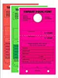 TEMPORARY PARKING PERMIT - Mirror Hang Tags, Numbered with Tear-Off Stub, 7-3/4'' x 4-1/4'', Bright Fluorescent Pink,Green and Red, 50 Per Pack - Triple-Pack (150 Tags)