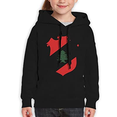 Vjkbkjnbk Lebanese Flag Children's Pullover Sweatshirt Hooded Cotton Horse Painting Printed For Boys Girls