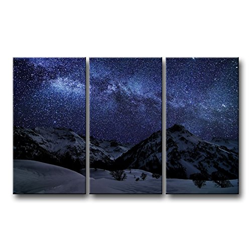 So Crazy Art 3 piece Blue Wall Art Painting Amazing Milky Way Vi Pictures Prints On Canvas Landscape The Picture Decor Oil For Home Modern Decoration Print - Panorama Milky Way