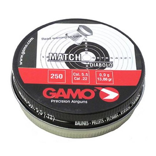 Gamo 632002554 Precision Match Pellets .22 Caliber Tin of 250 (Flat Nose)