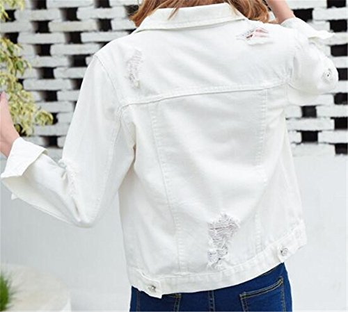 Coat Denim Tops White2 Bouton Manteau Outerwear Veste Casual Dcontracte Blousons Court AILIENT Hooded Automne Femme EPqqY