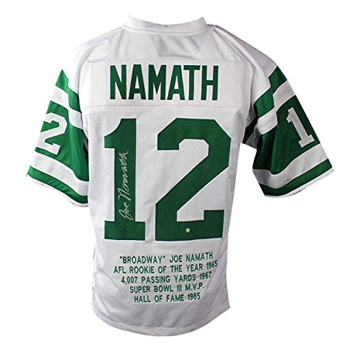 - Joe Namath Signed New York Jets White Custom Jersey with Embroidered Stats - Steiner Sports Certified