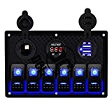 Switch Panel,DCFlat 4 6 8 Gang Waterproof Rocker Switch Panel with Digital Voltmeter+Fuse+Dual USB Power Charger+12V Power Socket Breaker +5 Pin Led for Marine Boat Car Rv Vehicles Truck