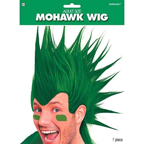 (Amscan Party Ready Team Spirit Mohawk Wig (1 Piece), Green, 11 x 8)