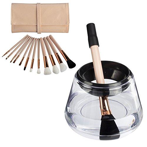 ProNoir Electric Makeup Brush Cleaner with Bonus 12-Piece Brush Set