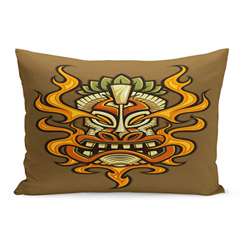 Semtomn Throw Pillow Covers Hawaiian Tattoo of Fire Breathing Tiki Head Mask Tribal Asian Culture Pillow Case Cushion Cover Lumbar Pillowcase Decoration for Couch Sofa Bedding Car 20 x 36 inchs