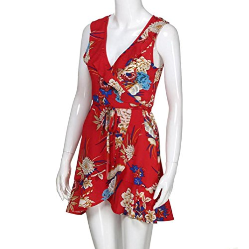 Beach S Summer Cocktail Sundrss Grande Col XXXL Guesspower de Fleurs 46 3 Impression t Rouge Mini Taille Sexy 36 Lady Robe Plage Boh Robe Femme Sexy Couleur Casual V Femmes q4wHO