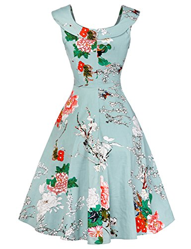 LINK-FLY Reception Dress 1950s Semi Formal Dresses For Women Knee -Length Holiday Dresses,LBFloral-2 S