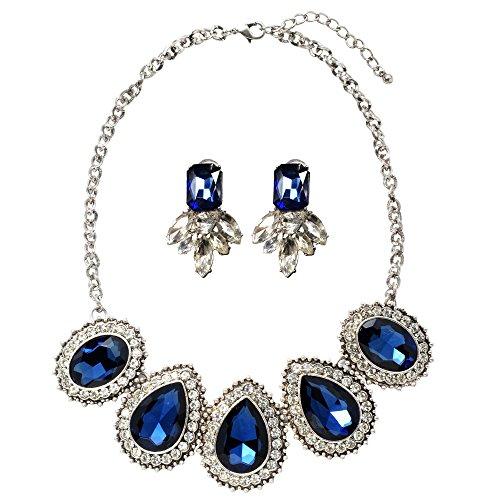 Veenajo Crystal Dazzled Teardop Pendant Necklace and Blue Geometric Teardrop Dangle Earrings Jewelry (Homemade Infant Frog Costume)