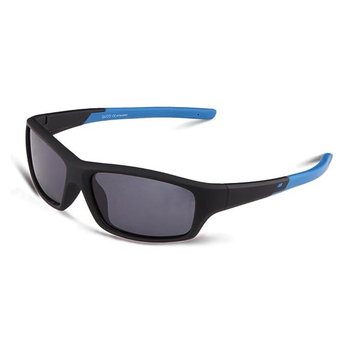 DUCO Gafas de Sol Polarizadas para Niños Marco de Goma de Flexible para Niño y Niña de 5 a 12 años Marco Negro y Azul: Amazon.es: Ropa y accesorios
