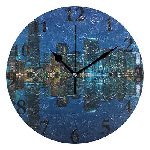 Ladninag Wall Clock Night Building View Silent Non Ticking Decorative Round Digital Clocks Indoor Outdoor Kitchen Bedroom Living Room