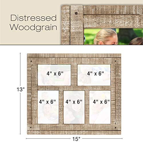Collage Picture Frames from Rustic Distressed Wood: Holds Five 4x6 ...