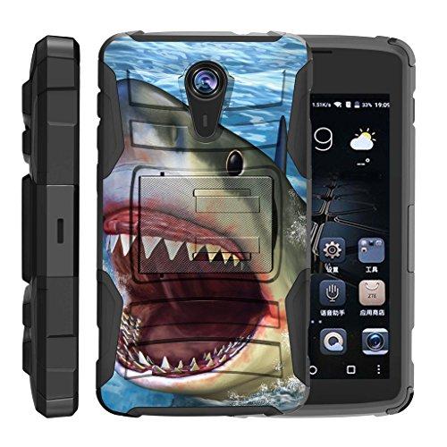 ZTE Uhura Case   ZTE Ultra Case   ZTE Quest Case   N817 [Hyper Shock] Hybrid Reinforce Dual Layer Case Rubber Holster Belt Clip Stand Ocean Sea Design by TurtleArmor - Shark Attack