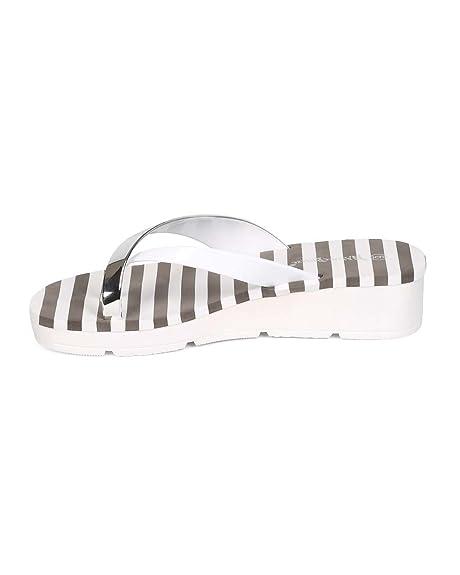 Amazon.com | Nature Breeze Women PVC Metallic Slip On Low Wedge Toe Ring Flip Flop ED45 - White | Sandals