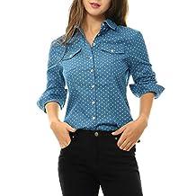 Allegra K Women's Dots Point Collar Chest Pockets Denim Shirt