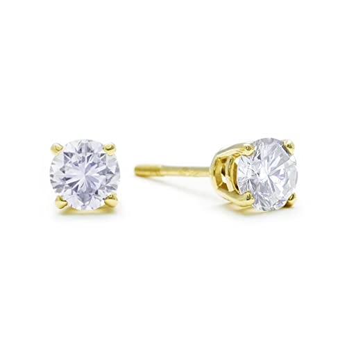 1/2 cttw 14K Yellow Gold Diamond Stud Earrings (AGS Certified I-J, I2-I3)