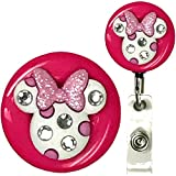 Minnie Mouse Bling Real Charming Premium Decorative Badge Holder (White w/Pink Belt Clip HD)