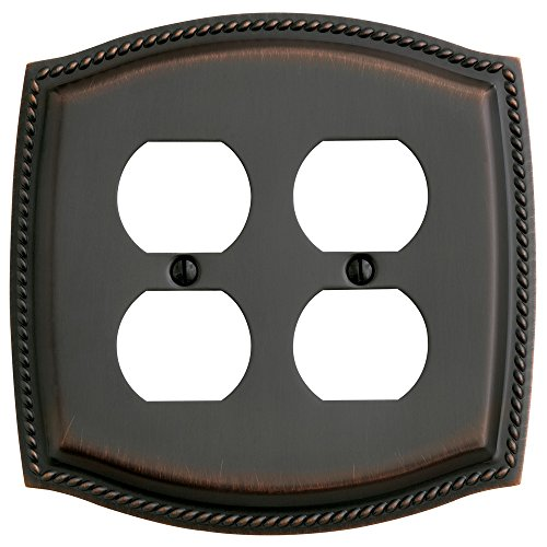 Baldwin Duplex Switchplate - Baldwin Estate 4794.112.CD Rope Design Double Duplex Wall Plate in Venetian Bronze, 5.9