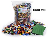 """LP Toys 1000 Piece Building Blocks Toddlers - Includes 54 Roof Pieces - 2 Free 5"""" x 5"""" Base Plates Included, Brick Build Toy in 10 Different Colors 12 Different Shapes Included"""
