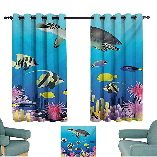 DONEECKL Windshield Curtain Ocean Sea Turtle Putterfish Clownfish Swimming Subaquatic Tropical Life Fins Seaweed Print Thermal Insulated Tie Up Curtain W63 xL63 - Tortilla Turtle Island