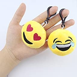 Swity Home [12 Pack] Toy Key-chain 2 Inch Mini Emoji Plush, Set of 12