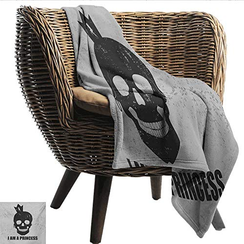 Anshesix Throw Blanket I am a Princess Skull with a Crown Skeleton Halloween Theme Grunge Look Lightweight Super Soft Comfort W60 xL40 Sofa,Picnic,Camping,Beach,Everyday use]()