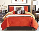 King Size Comforter Sets with Matching Curtains Modern 7 Piece Oversize Orange / Brown / White Embroidered Pin Tuck Comforter Set King Size Bedding with Accent Pillows 104