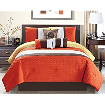 Modern 7 Piece Oversize Orange / Brown / White Embroidered Pin Tuck  Comforter Set King Size