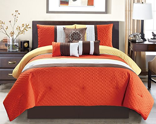 California King Modern Bedroom Set - Modern 7 Piece Oversize Orange / Brown / White Embroidered Pin Tuck Comforter Set California (Cal) King Size Bedding with Accent Pillows 106