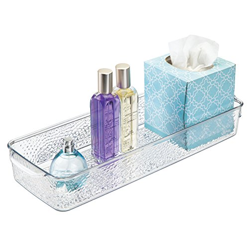 mDesign Bathroom Storage Organizer Tray with Handles for Soaps, Lotions, Candles, Tissues, On the Toilet Tank - Clear