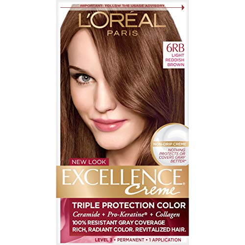 L'OrÃal Paris Excellence CrÃme Permanent Hair Color, 6RB Light Reddish Brown, 1 Count kit 100% Gray Coverage Hair Dye (L Oreal Excellence Creme Light Reddish Blonde)