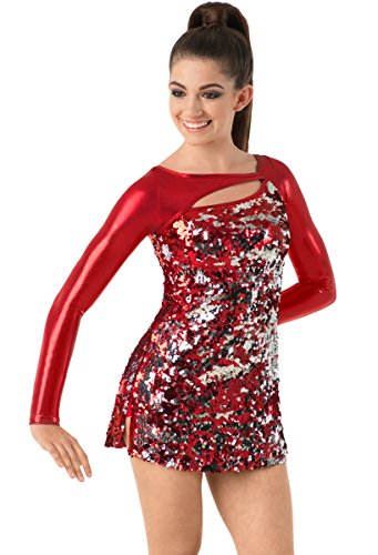 Sequin Cheer Briefs - Balera Dress Girls Costume For Dance Womens Long Sleeve Sequin Dress With Metallic Long Sleeves Red Child Medium