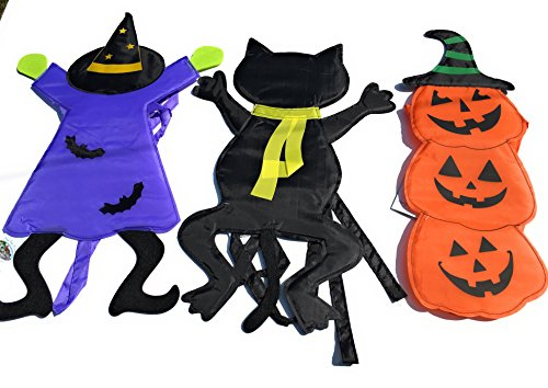 Mayrich Halloween Tree Hugger Wraps Bundle of 3 Figures; Tree Crashing Witch, Tree Crashing Black Cat and Pile of Jack O Lantern Pumpkins 24 Inches Tall ()