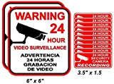 12-Pcs Impassioned Unique Warning 24 Hour Video Surveillance Stickers Decal Sign Window Reflective Camera In Use Being Watched Premises Under Cameras Protect Property Signs 2-Large 10-Small Spanish