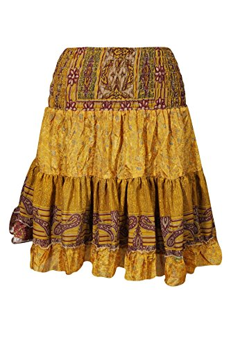 Tiered Peasant Skirt (Mogul Womens Dancing Skirt Vintage Full Flare Recycled Sari Tiered Boho Knee Length Skirts (Yellow))