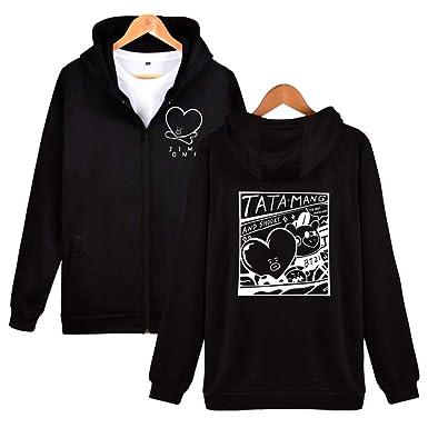 SAMSHINE Kpop BTS Cartoon Pattern BT21 TATA MANG SHOOKY Sweater Hoodie Sweatshirt (S, Black