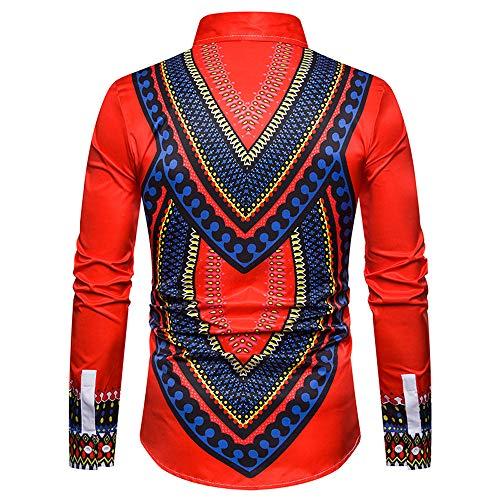 Paolian Africano Lusso Stampa Rosso Camicia Lunga Autunno Top Manica uomo Camicia wUq1B7