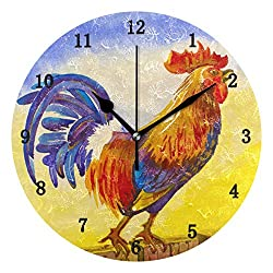 ZZKKO Rooster in Yellow Sunrise Wall Clock, Silent Non Ticking Battery Operated Easy to Read Decorative Wall Clock for Kitchen Bedroom Bathroom Living Room Classroom