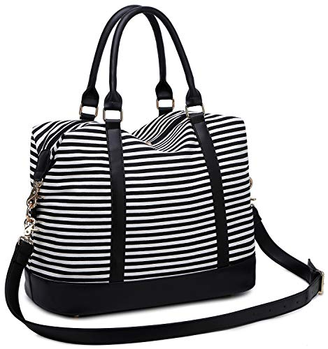(BLUBOON Women Weekender Bag Overnight Travel Carry-on Tote Duffle Bag for Rolling Luggage with Shoulder Strap (Black&White stripe))