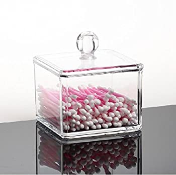 GLODEALS Transparent Square Clear Acrylic Holder Box Cotton Swabs Stick Storage Cosmetic Makeup Case Cotton Ball Holder Organizer(one)