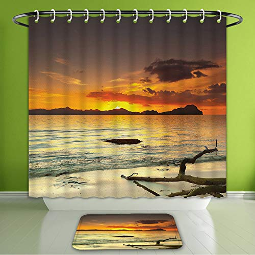 (Waterproof Shower Curtain and Bath Rug Set Nature Decor Collection Sunset Over The Island Dry Tree Distant Hills Sandy Shoreline Vacation Bath Curtain and Doormat Suit for Bathroom 60