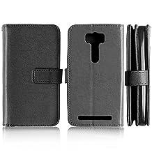 Asus ZenFone 2 Laser ZE500KL Case, Solid Color Case 9 Card and Cash Holder Wallet Case Premium PU Leather Case Cover Flip Stand Case for Asus ZenFone 2 Laser ZE500KL ( Color : Black-ZE500KL )