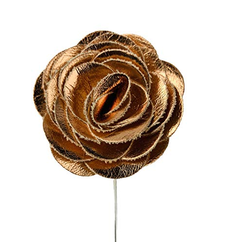 47IVYWOOD Premium Pre-Tied Rhinestone Gold Bow Tie for Men, Women, Boys, Girls (Rose Gold Lapel Flower)