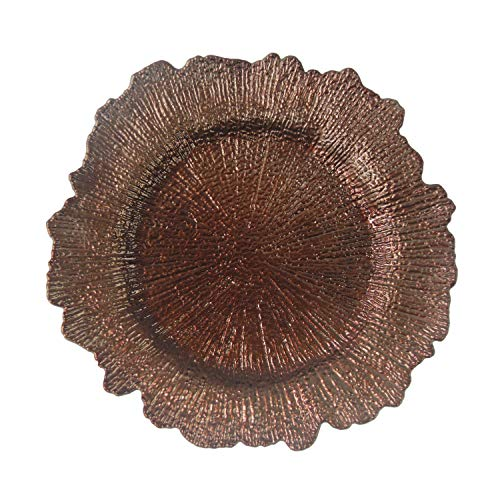 Brown Plastic Reef Charger Plates - 12 pcs 13 Inch Round Floral Sponge Charger Plates Wedding Party Decoration (Brown, 12)