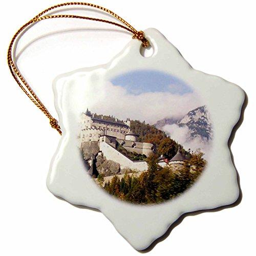 3dRose ORN_51625_1 Werfen Castle Salzburg Austria-Snowflake Ornament, Porcelain, 3-Inch