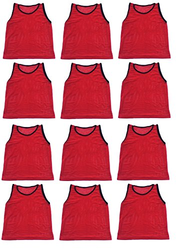 12 Pack Adult RED Scrimmage Vests by World Sport