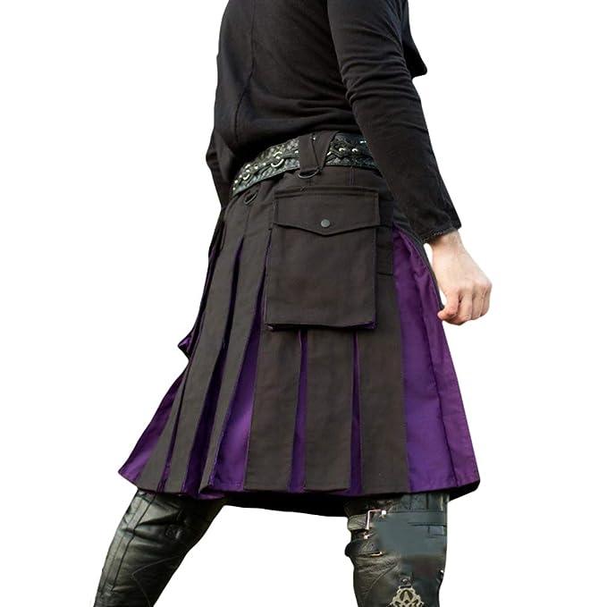 JiXuan Traje Medieval de los Hombres Pantalones de Falda con ...
